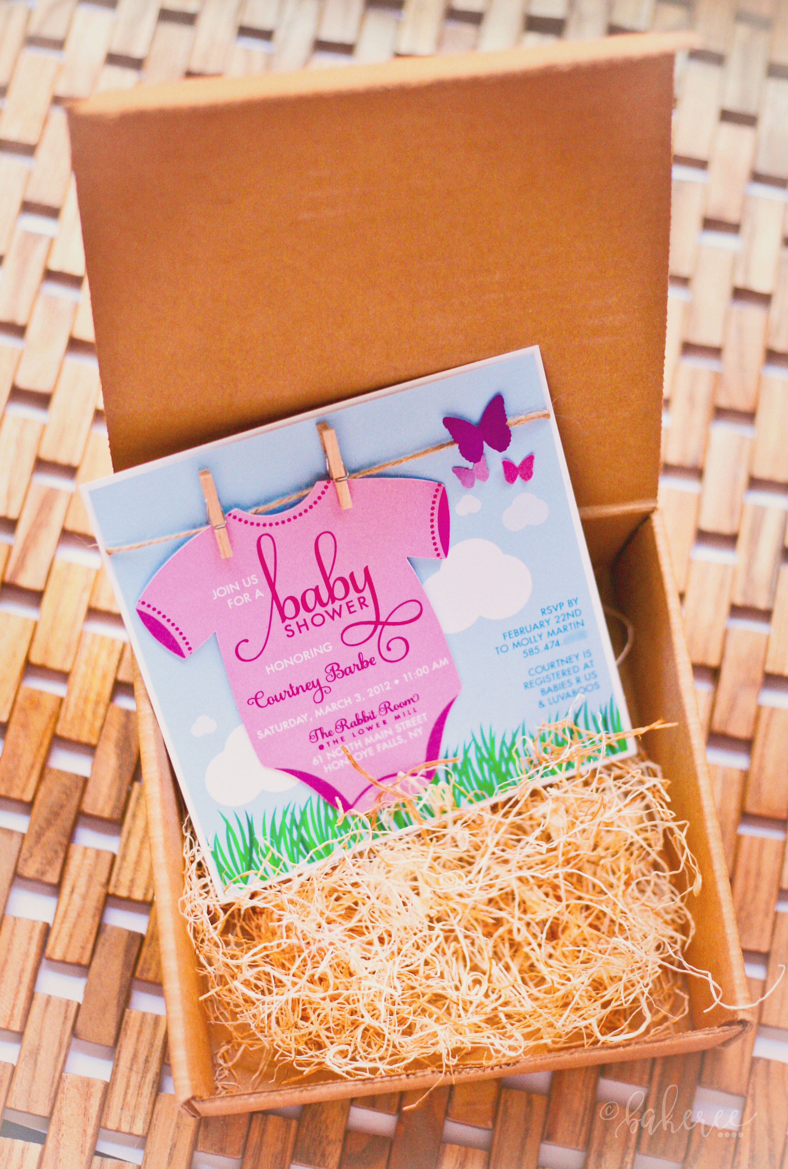 Clothesline Onesie Baby Shower Invitation