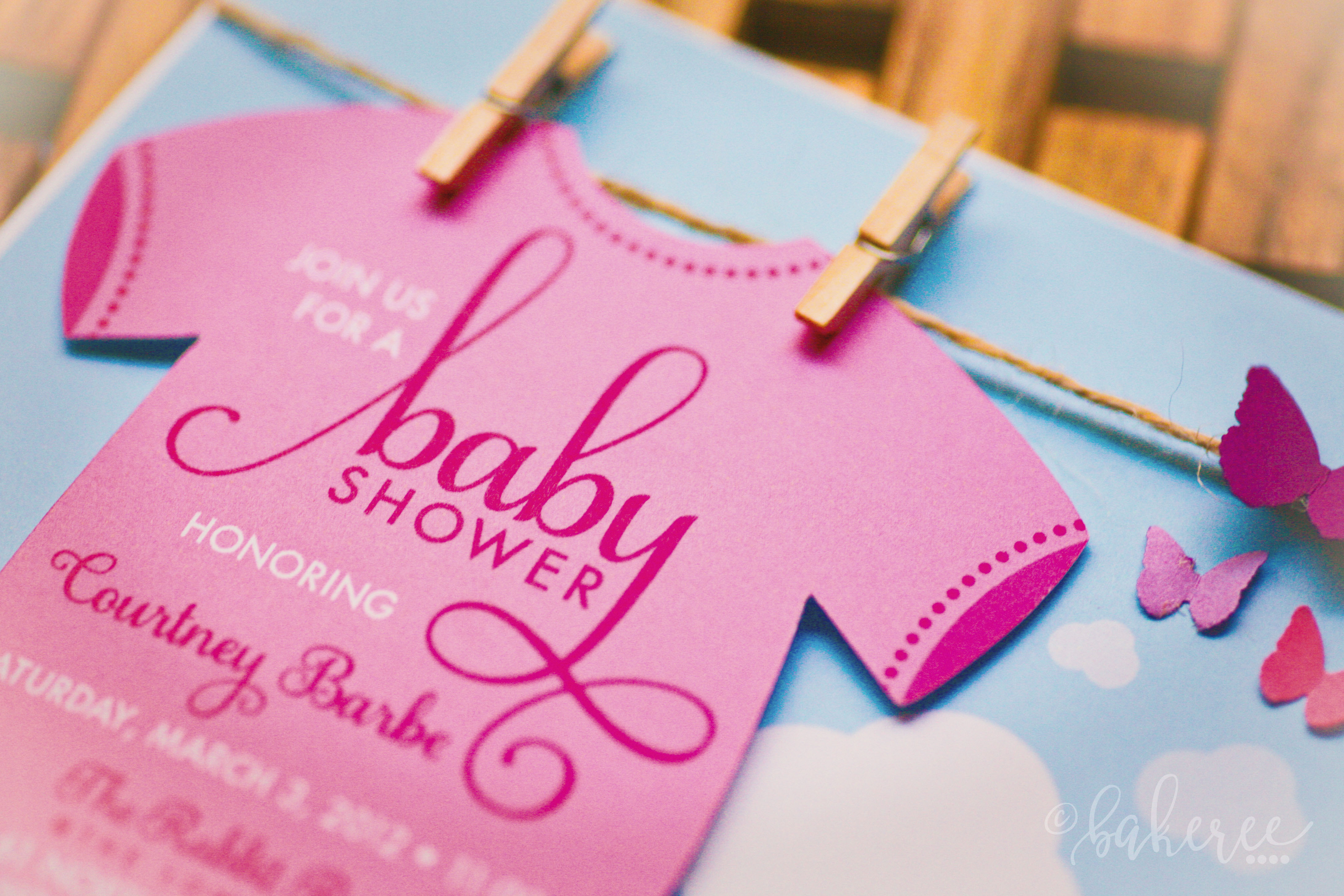 Clothesline Onesie Baby Shower Invitation {Detail}