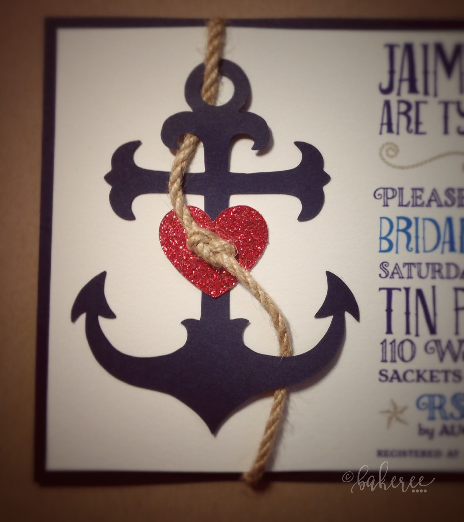 Anchor of Love Bridal Shower Invitation {Detail}