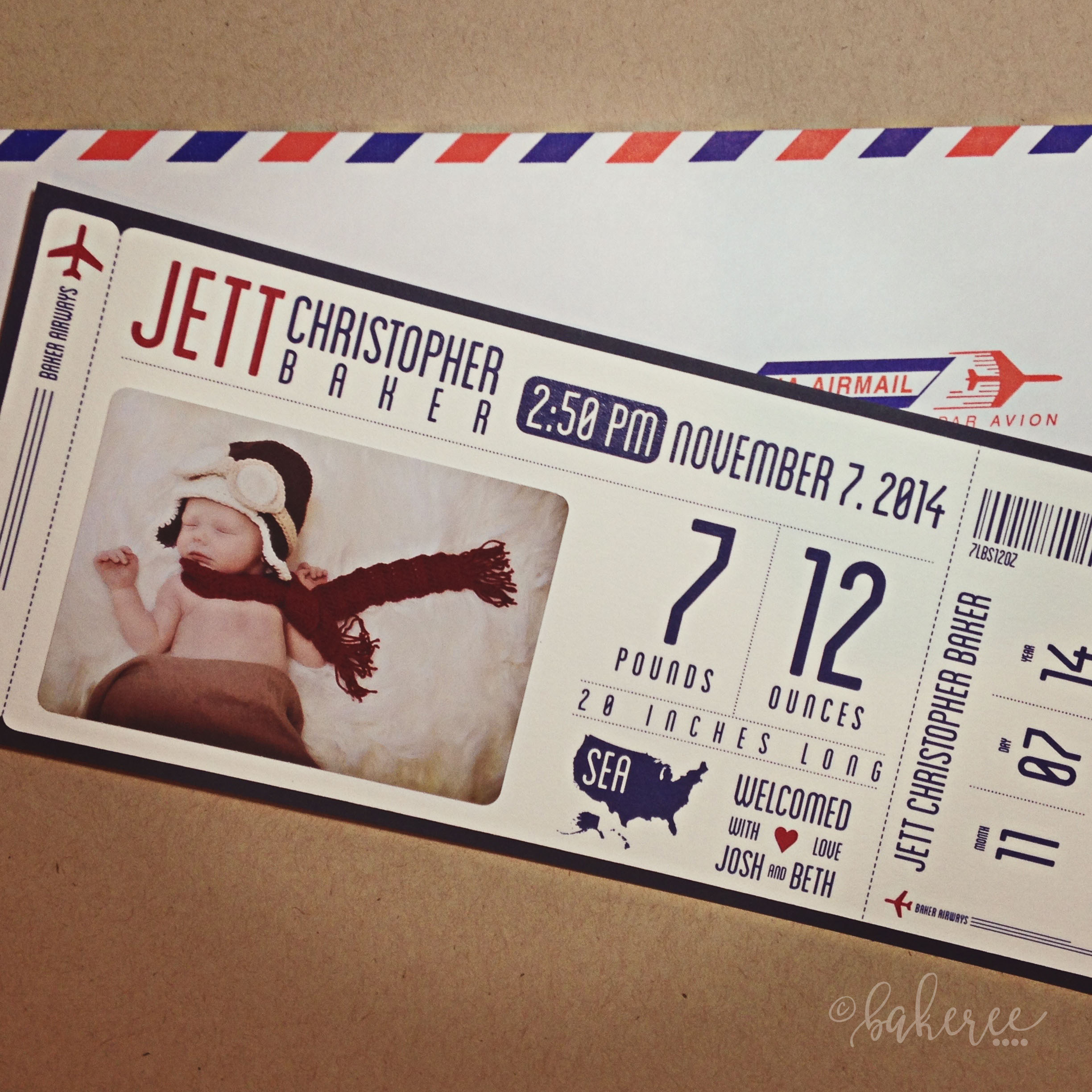 Airline Ticket Baby Announcement