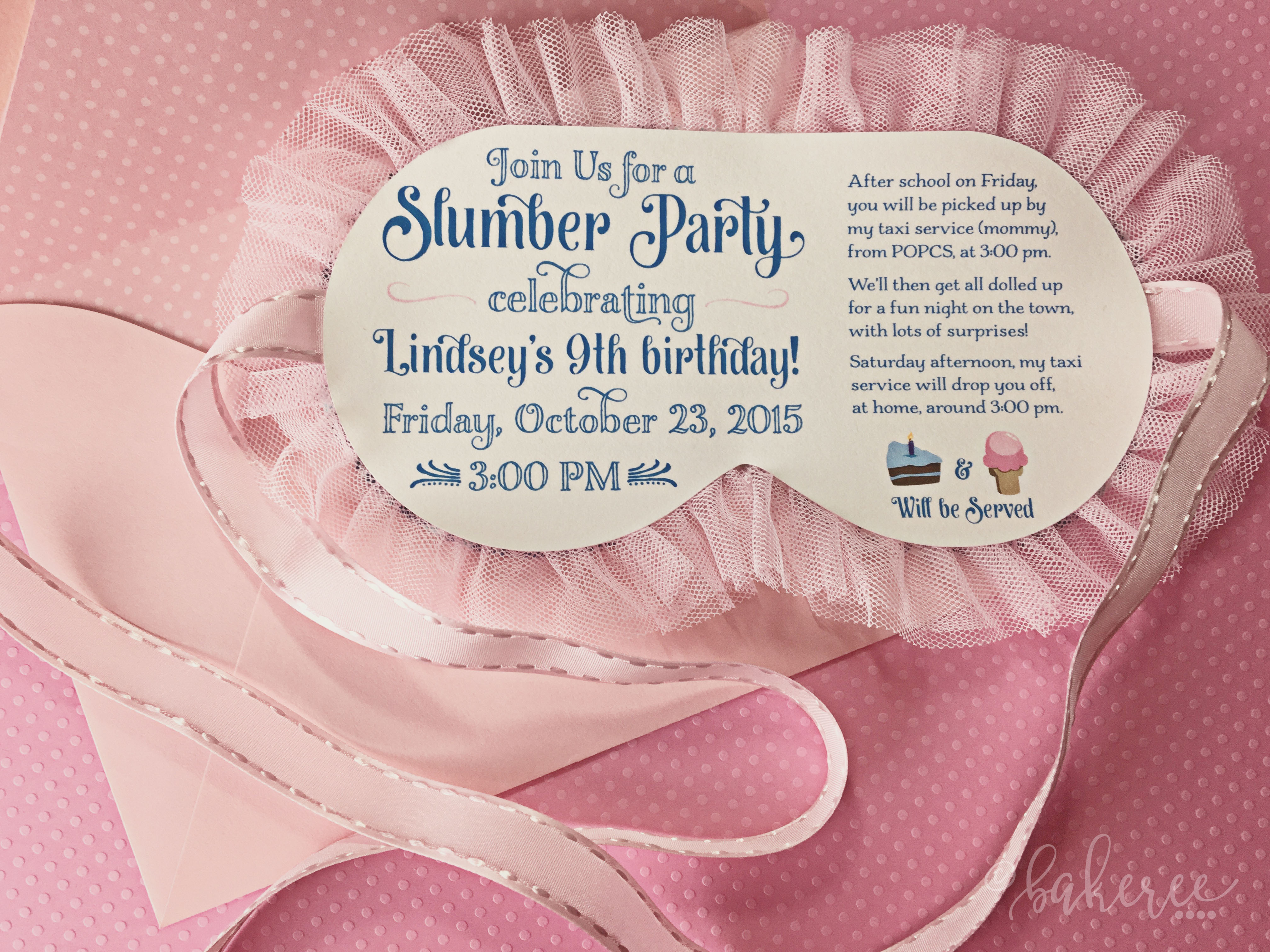 Sleeping Mask Birthday Invitation {Front}