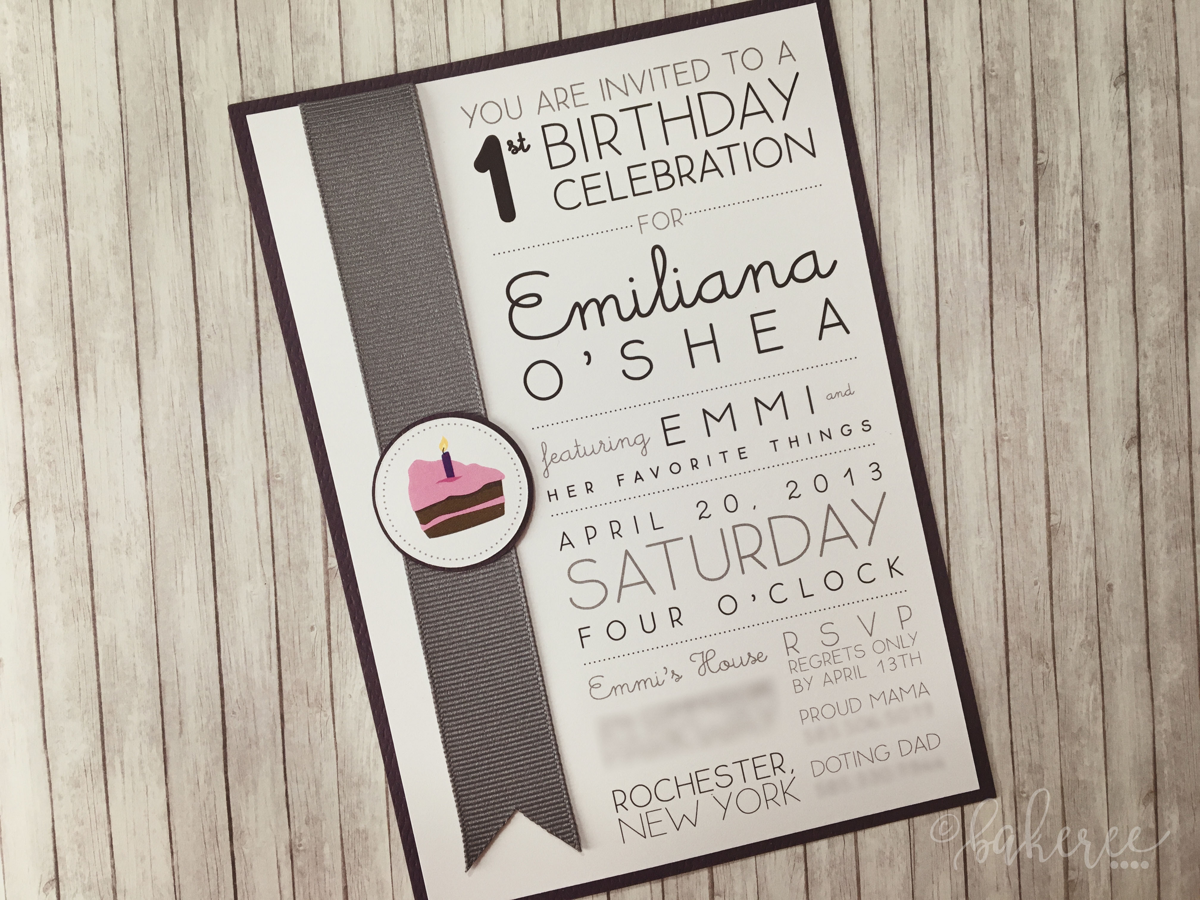 Cake Bookmark Birthday Invitation