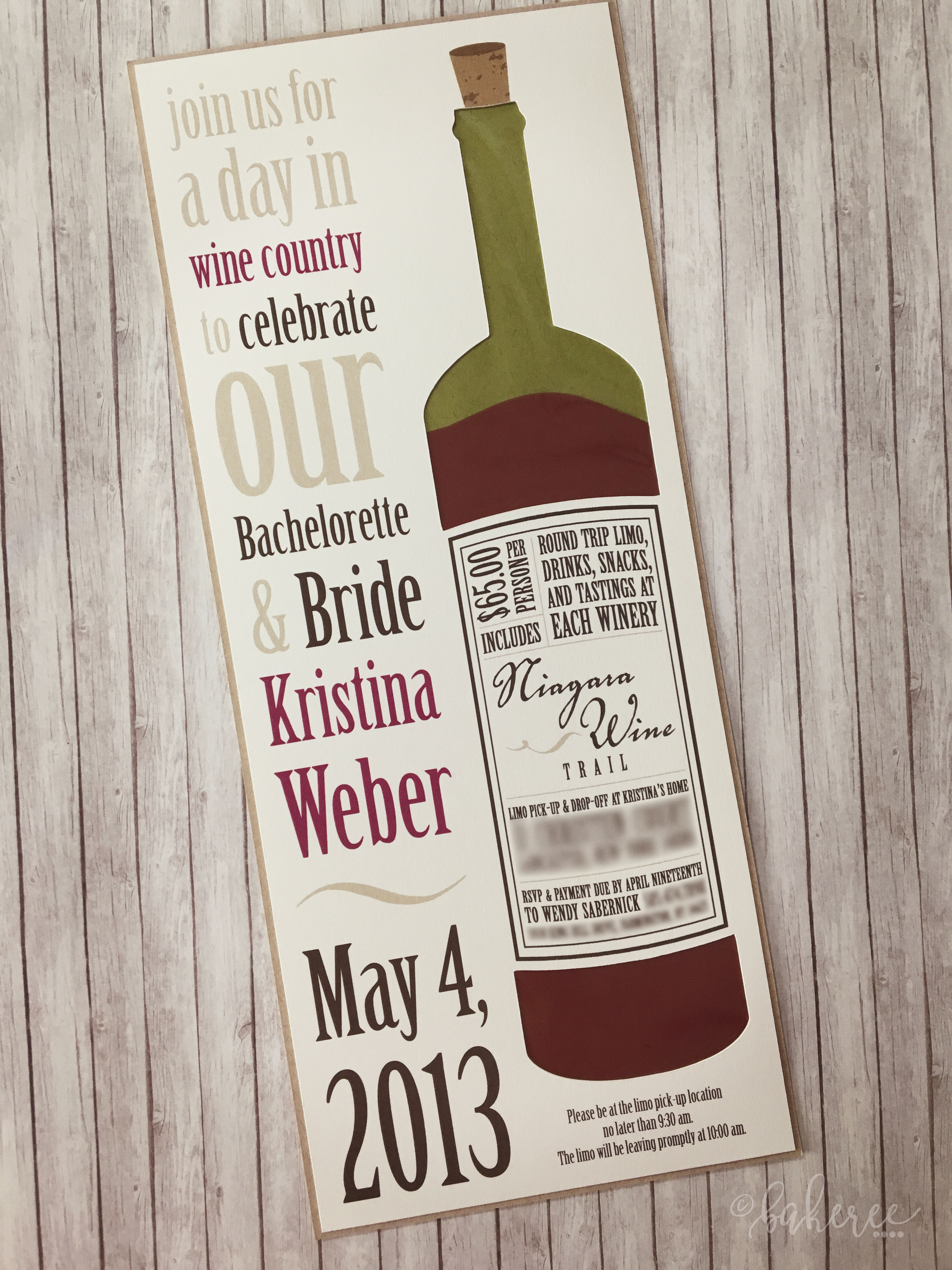 Wine Tour Bridal Shower Invitation