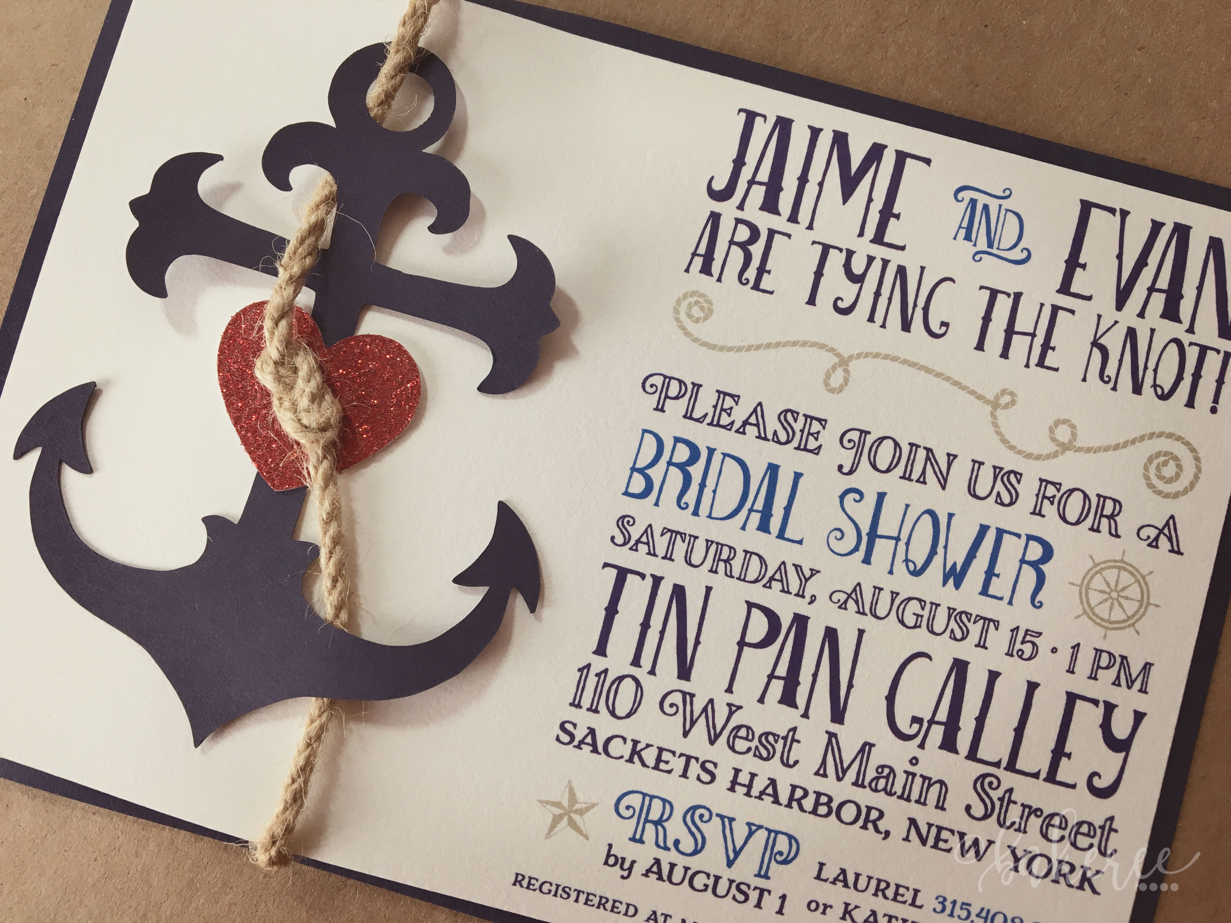 Anchor of Love Bridal Shower Invitation