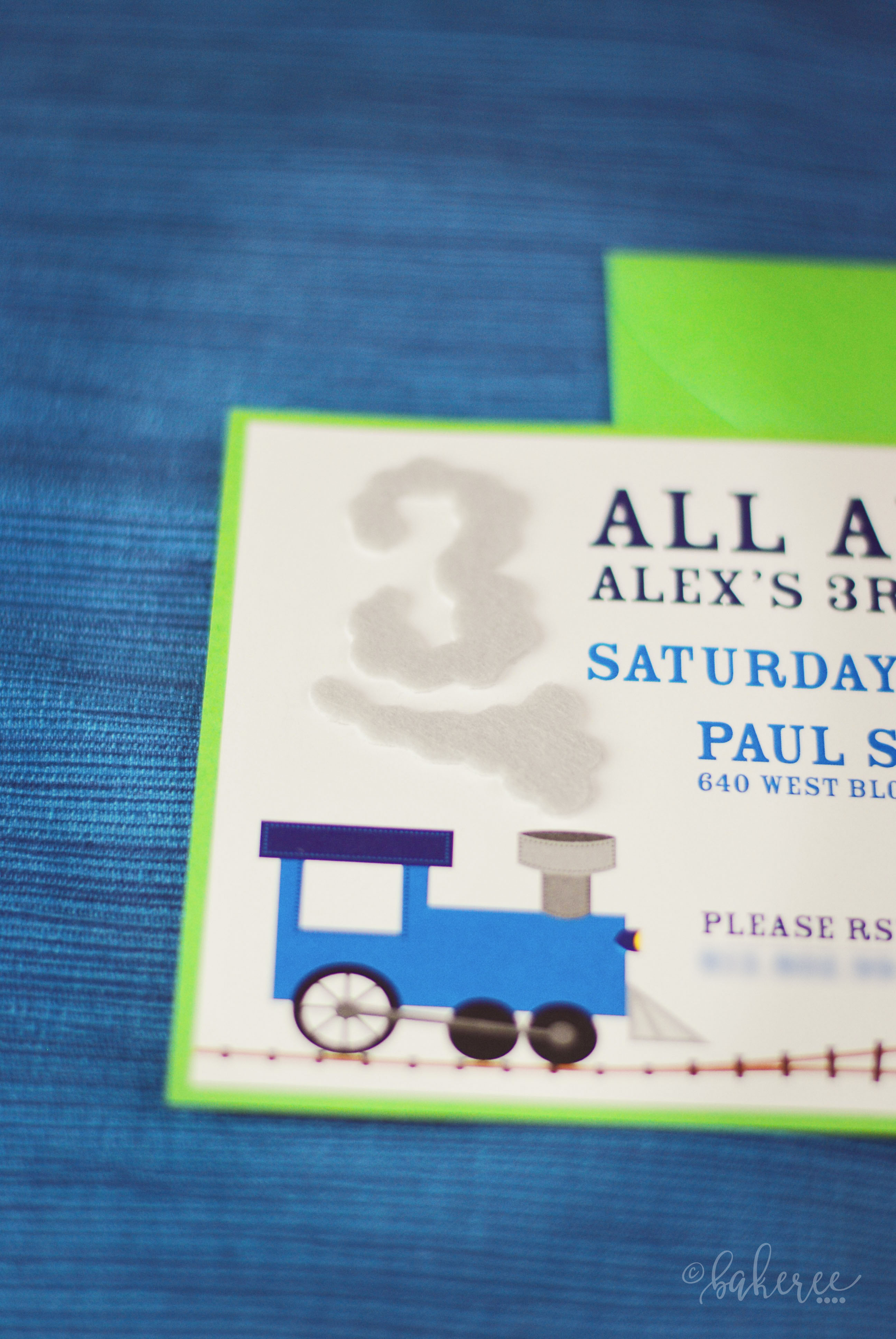Felt Train Smoke Birthday Invitation {Detail}