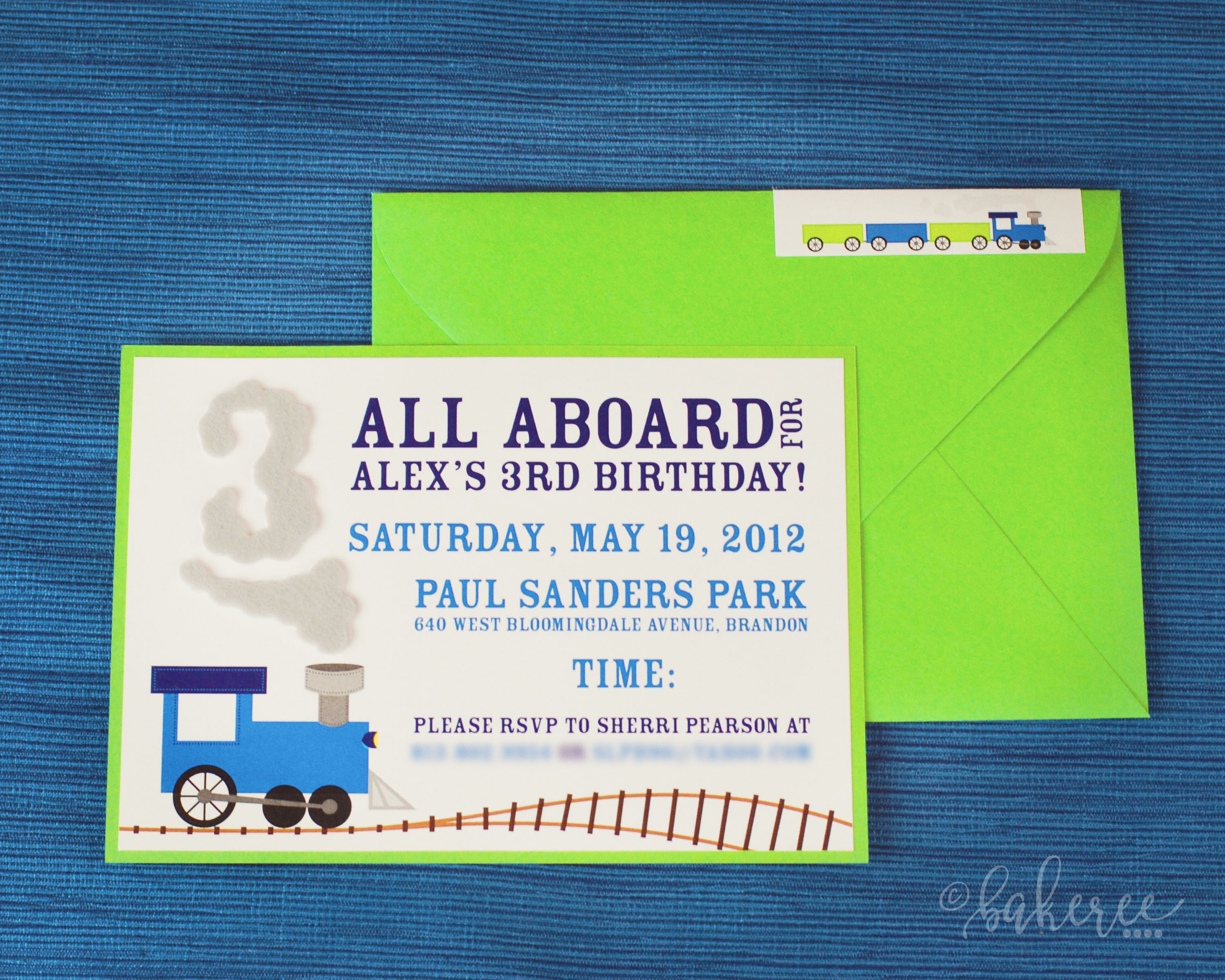 Felt Train Smoke Birthday Invitation