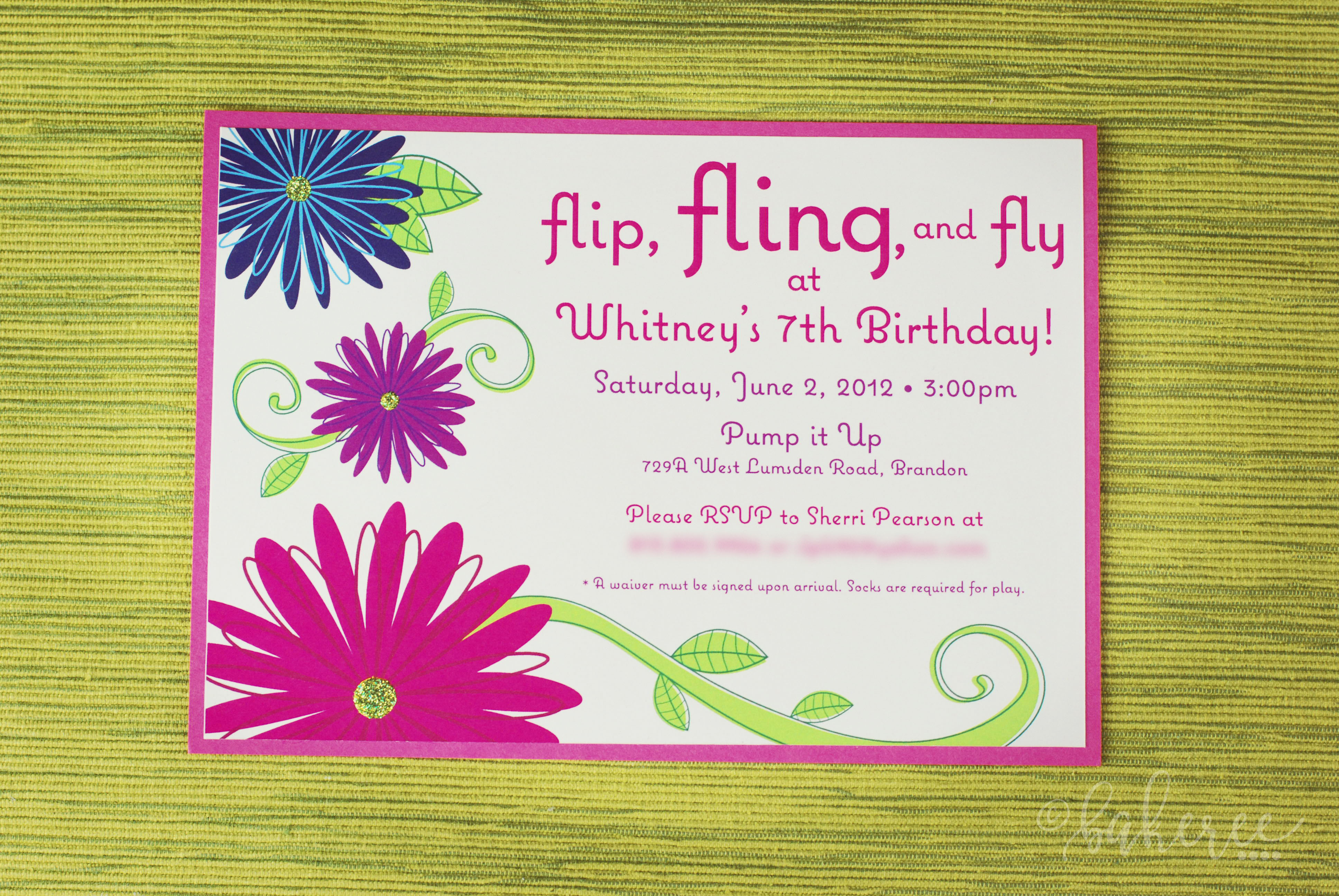 Glitter Flower Birthday Invitation