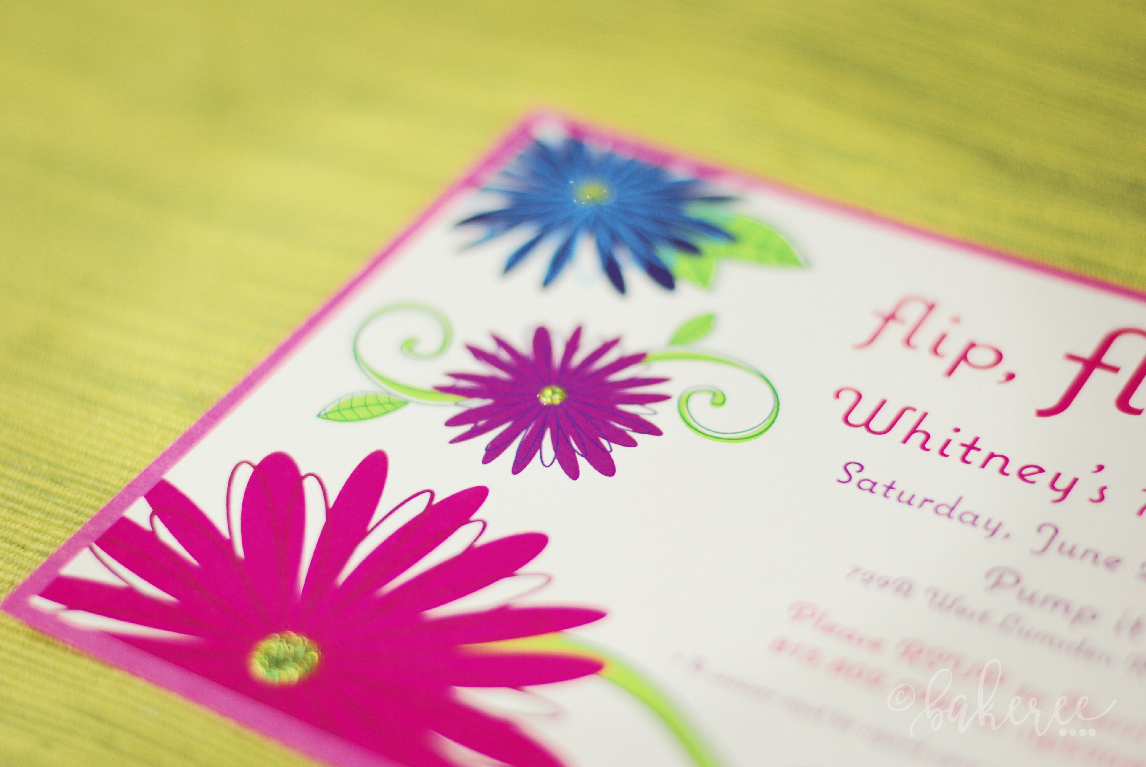 Glitter Flower Birthday Invitation {Detail}