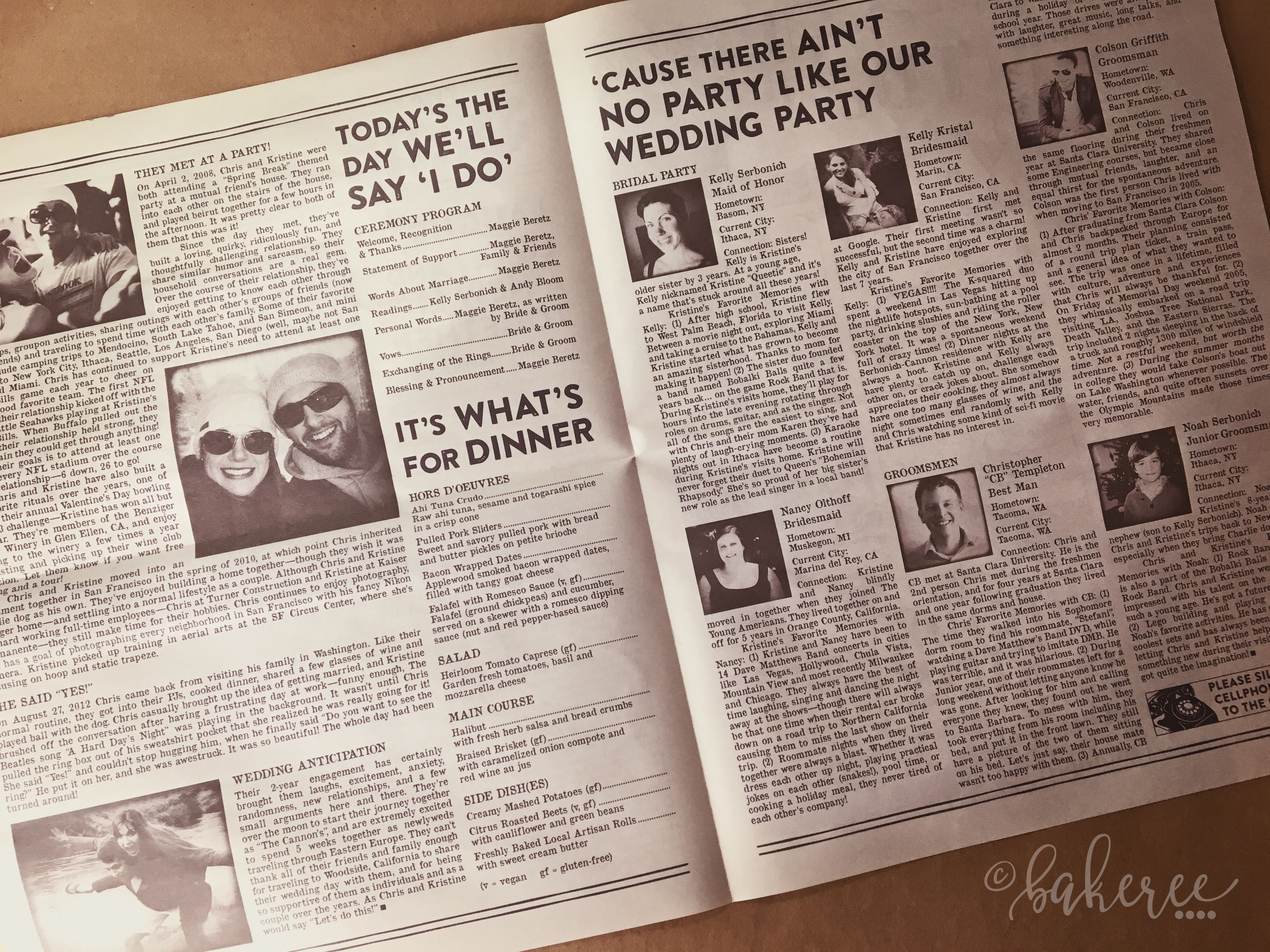 Newspaper Wedding Program {Inside Spread}