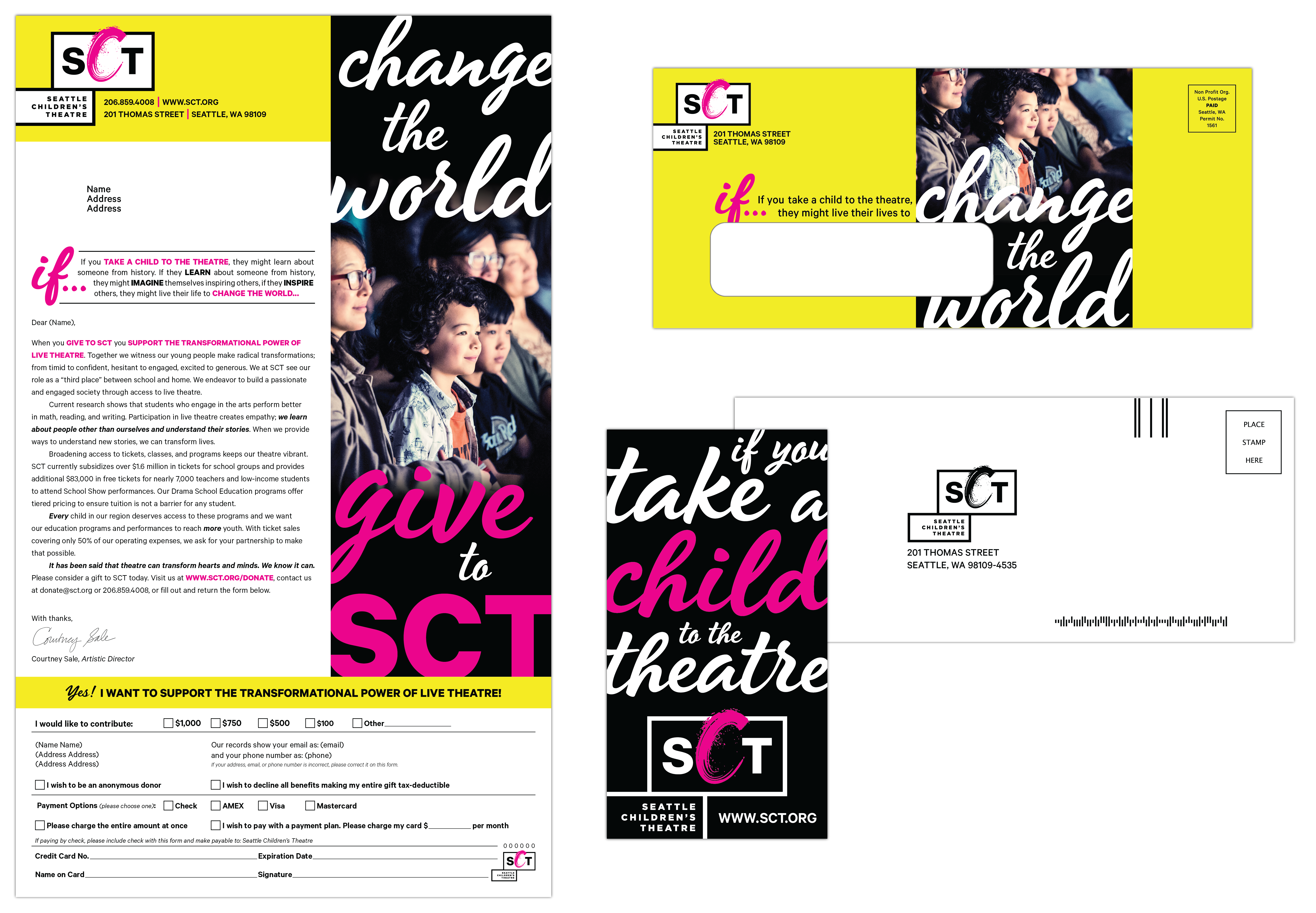 Seattle Children's Theatre, Spring 2019 Development Campaign, with included sticker giveaway.